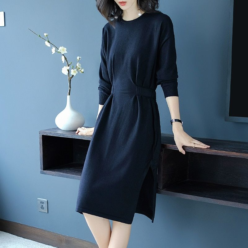 England Style Knitted Dress Autumn And Winter Women's Thick 2018 New Knee-Length O-Neck Women Dress