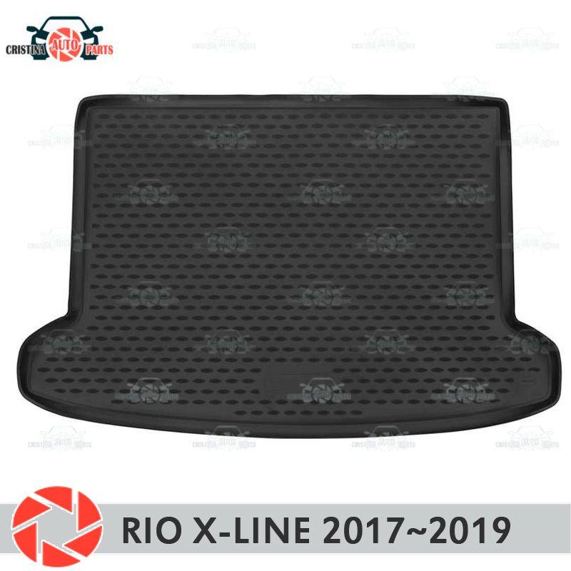 Stamm matte für Kia Rio X-Linie 2017 ~ 2019 stamm boden teppiche non slip polyurethan schmutz schutz innen stamm auto styling