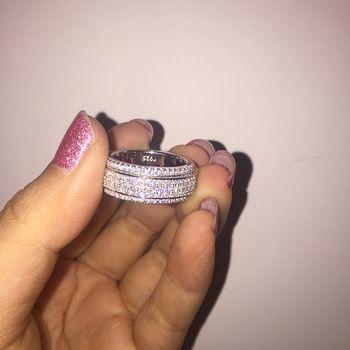 Incrustada de Cristais de Swarovski anel Para As Mulheres 2019 Novo verão Moda 925 Anel de Casamento Jóias Anéis Atacado Rotativo