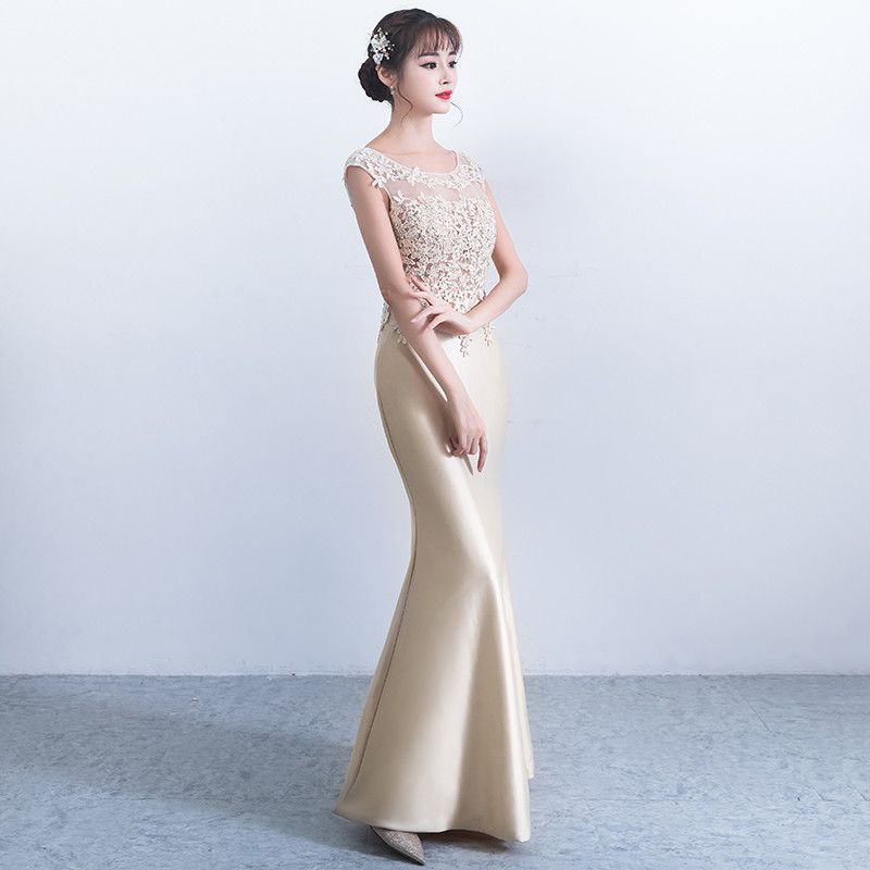 Women Hollow Out Floor-Length Embroidery Patch Work Party Dress Casual Vestidos Elegant Slim Party Mermaid Petal Sleeve