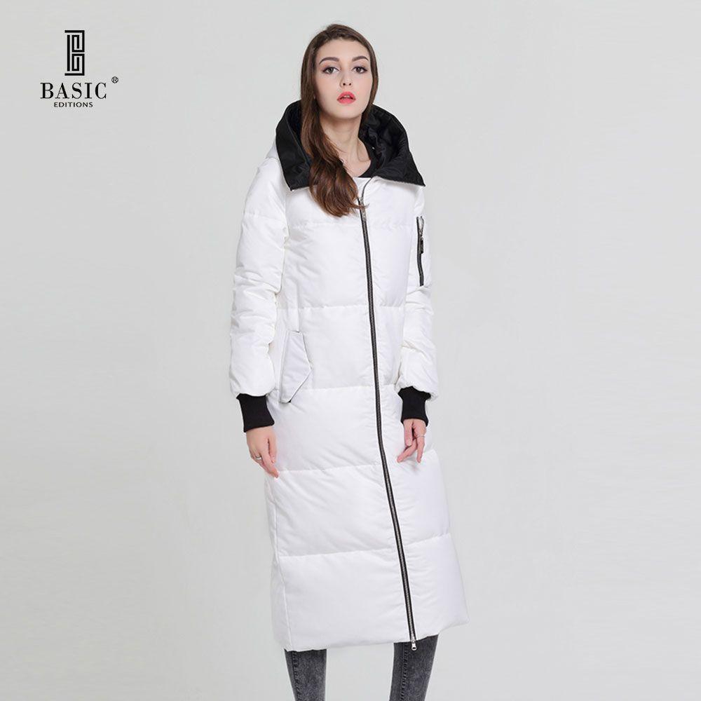 Basic Vogue Women Winter Extra Long Coat Casual Puff Zipper Hood Down Parka Jacket - Y16065