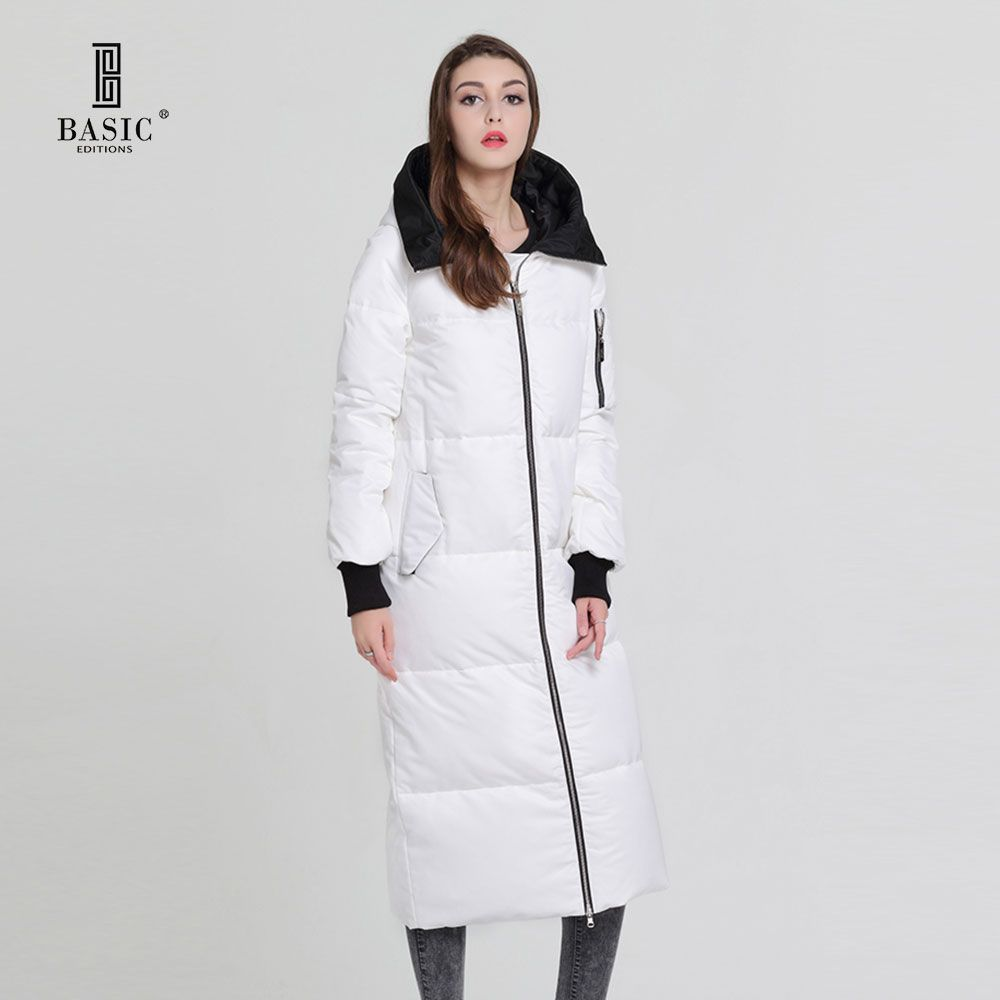 Basic Vogue Women Winter Extra Long Coat Casual Puff Zipper Hood Down Parka Jacket - Y16065