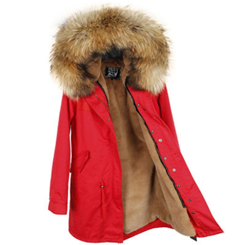 2018 NewWomen Winter Jacket Detachable Lining Army Green Color Large Real Raccoon Fur Hooded Coat Outwear Long Parka Brand Style