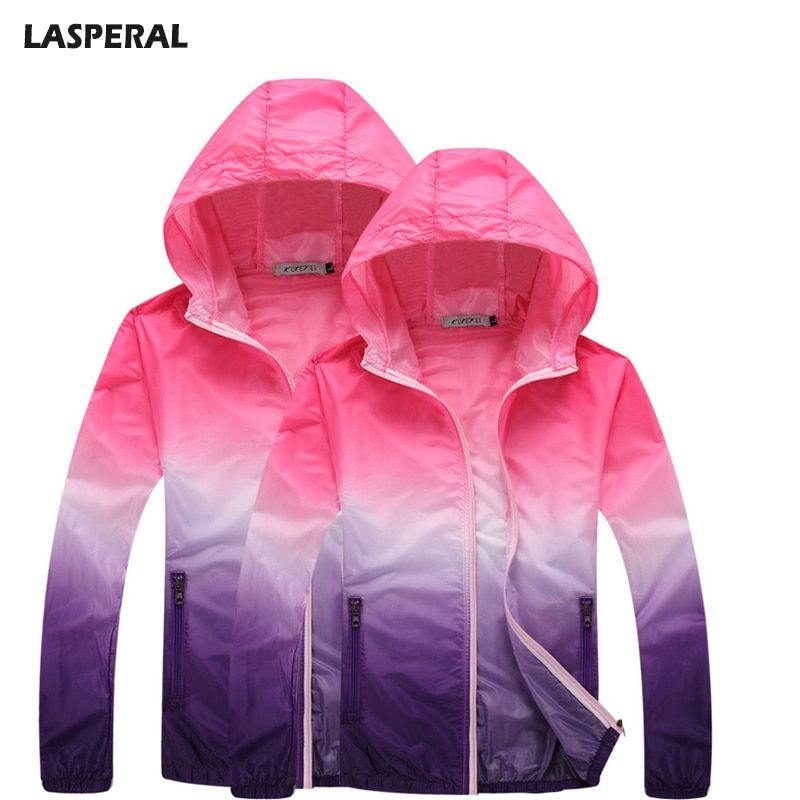 LASPERAL Outdoor Summer Thin Run Jackets Quick Dry Breathable Long Sleeve Women Sweatshirts Gradient Multicolor Sunscreen Jacket