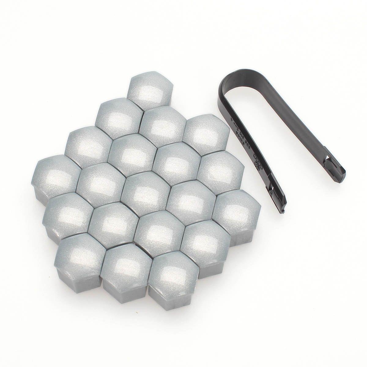Original 20pcs Wheel Lug Silver Nut Bolt Cover Caps Removal Tools for Skoda Audi VW Golf Passat 17mm
