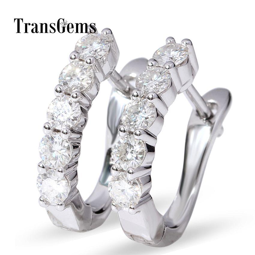 Moissanite Hoop Earrings 14k White Gold Huggie Type Hoop Earrings with 1 CTW Each 0.1CT 3MM FGH Moissanite