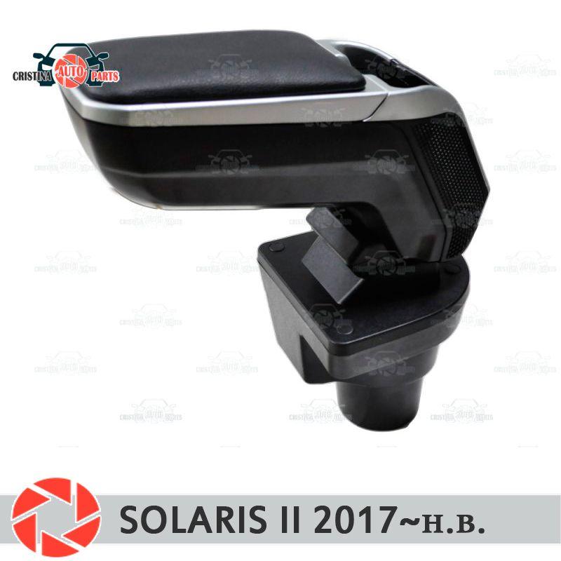 Armlehne für Hyundai Solaris 2017 ~ auto arm rest zentrale konsole leder lagerung box aschenbecher zubehör auto styling vst