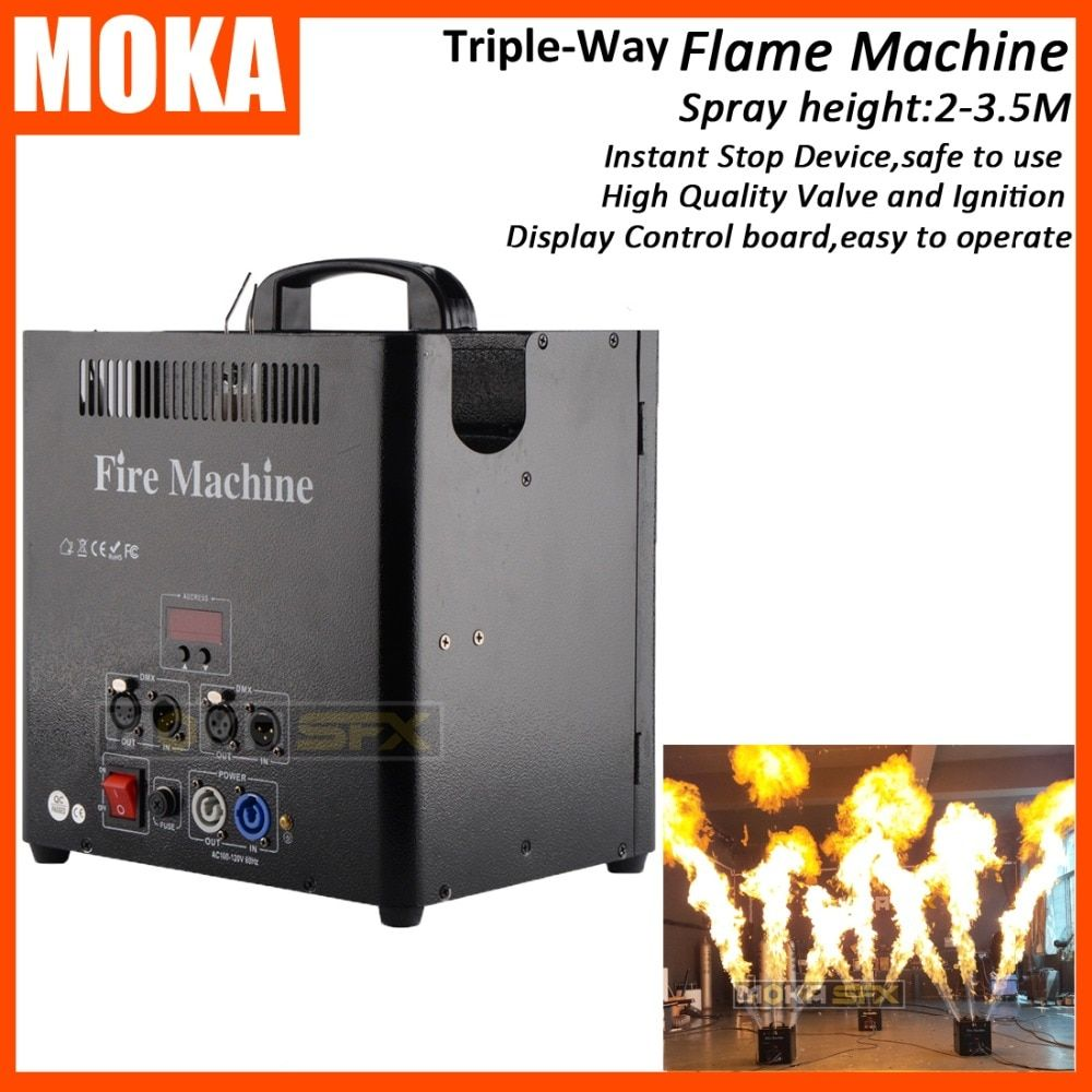 1 Pcs/lot 3 Head DMX512 Fire Machine 5 Channels Flame Projector stage flame machine LCD display