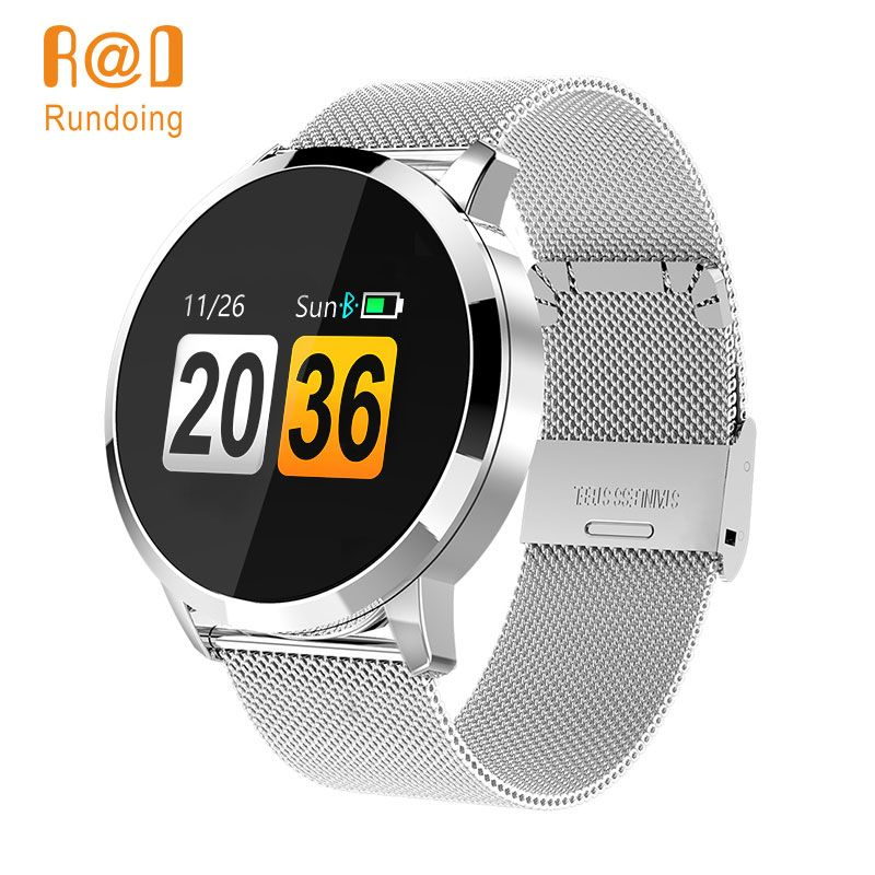 Rundoing Q8 Smart Watch OLED Color Screen Smartwatch men Fashion Fitness Tracker Heart Rate