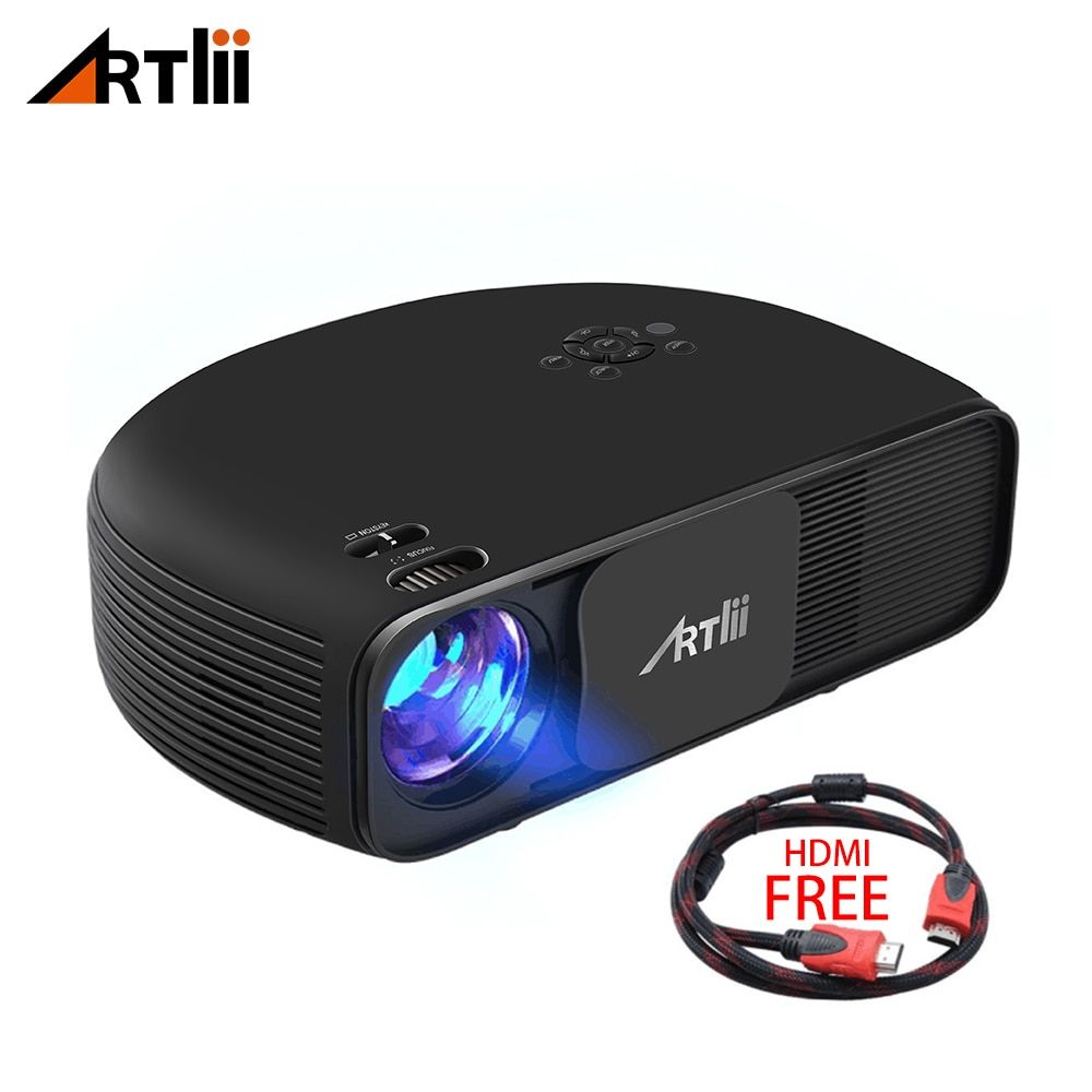Artlii Overhead LED Home Cinema Outdoor Projector 3500 Lumens Support 1080P Laptop Cellphone Video Projector for Games and Party