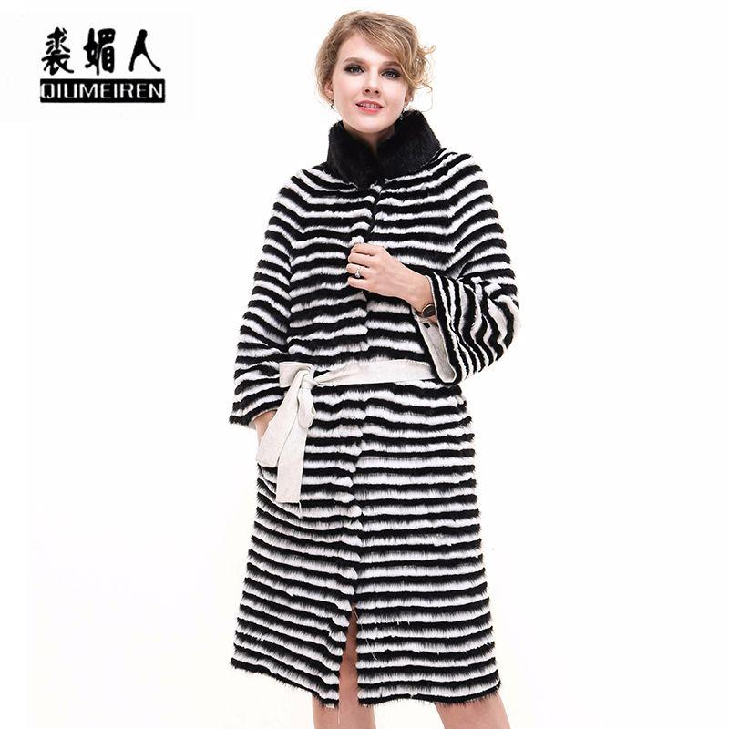 QIUMEIREN 2018 New Reale Natürliche Fuchspelz Streifen Langen Mantel jacke Gürtel Luxus High Fashion Frauen Winter Herbst Frühling pelze mäntel
