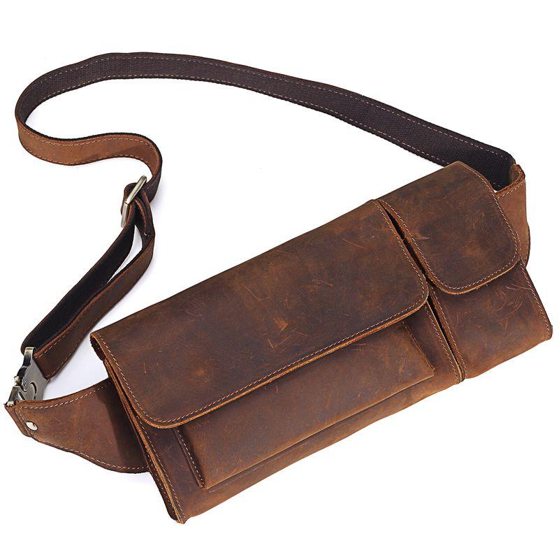 2018 neue Vintage Echtem Leder Männer Taille Pack Casual Multi-funktionen Fanny-Pack Gürtel Tasche Männlichen Reise Telefon Beutel schulter Tasche