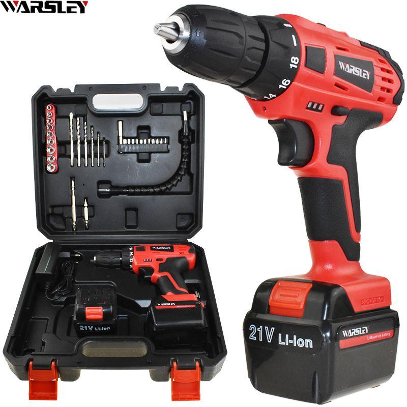45N/M electric Screwdriver 21v power tools electric Drill Electric Cordless Drill 2 Batteries Plastic box Mini Drill drilling
