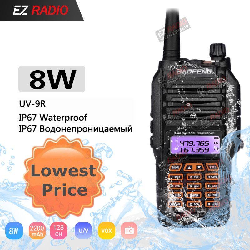 Baofeng UV-9R Waterproof Dual Band 136-174/400-520MHz Ham Radio BF-UV9R Baofeng 8W Walkie Talkie 10KM For Kayak baofeng uv-5r 8w