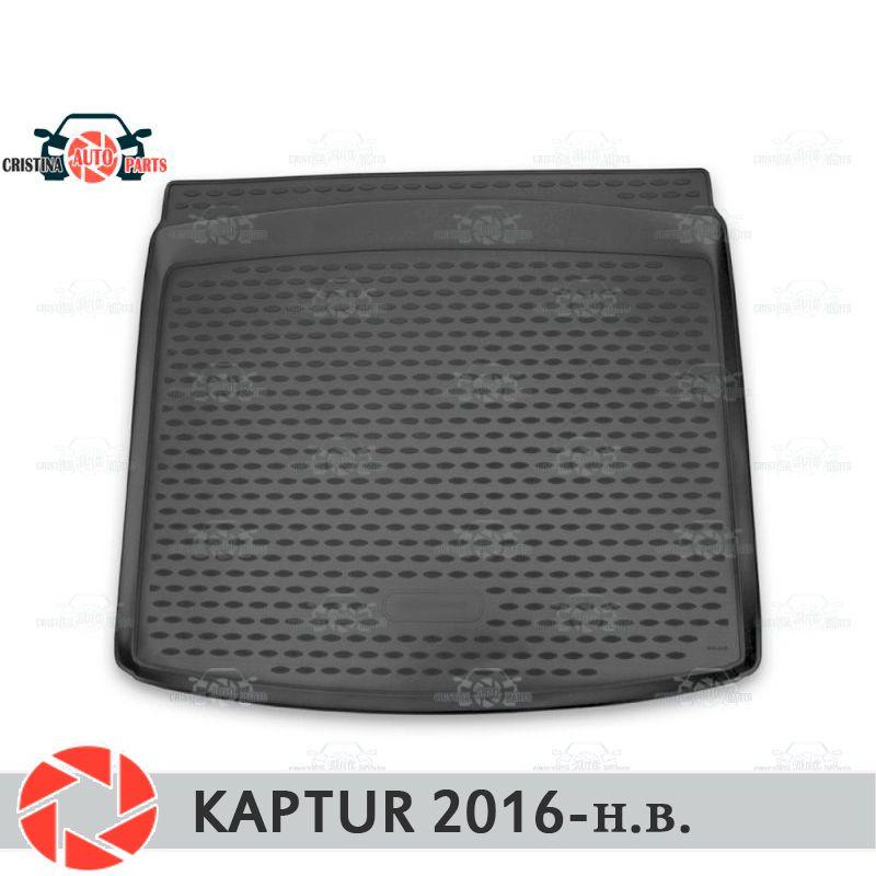 Für Renault Kaptur 2016-stamm matte boden teppiche non slip polyurethan schmutz schutz innen trunk auto styling