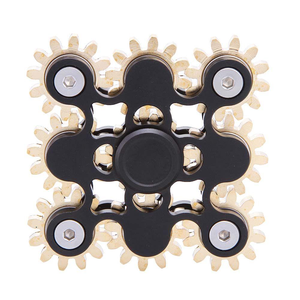 Nuevos Engranajes Vinculación Fidget Spinner Spinner Metal EDC Mano Nueve dientes Dedo Vinculación Rueda Giroscopio Anti-Estrés Juguetes 100% Real fotos