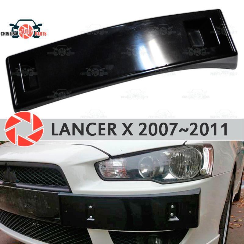 Podium von license plate frame für Mitsubishi Lancer X 2007 ~ 2011 auf frontschürze ABS kunststoff körper kit dekoration auto styling