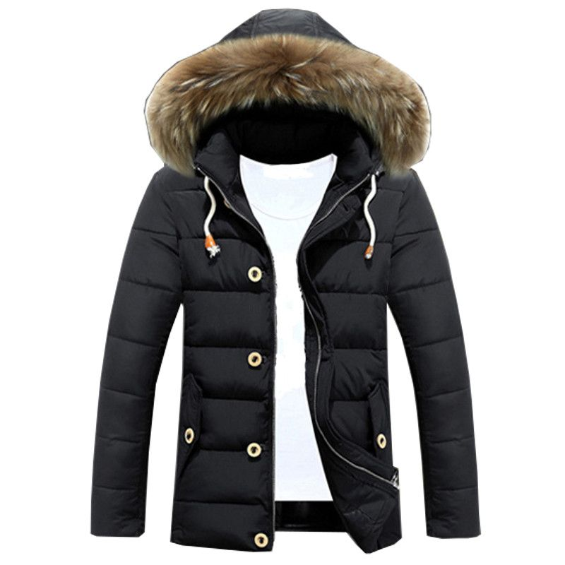 Feather Parkas Jackets For Men 2017 Winter Cotton Padded Jacket Coat Puffer Hooded jacket Male Homme Plus Size M-3XL