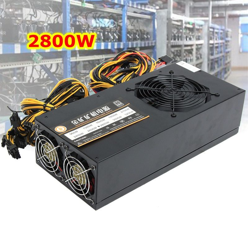 2800W Mining Power Supply 8GPU 24Pin For Eth Rig Ethereum Bitcoin Miner 90+ Gold High Quality Computer power Supply For BTC