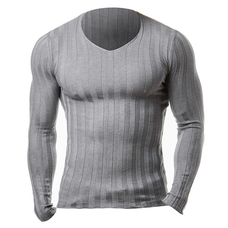 2017 New Men's Autumn Winter Warm Brand Casual Sweater Long Sleeve Striped Fitness Knitted Sweaters Pullover Men Top Plus Size