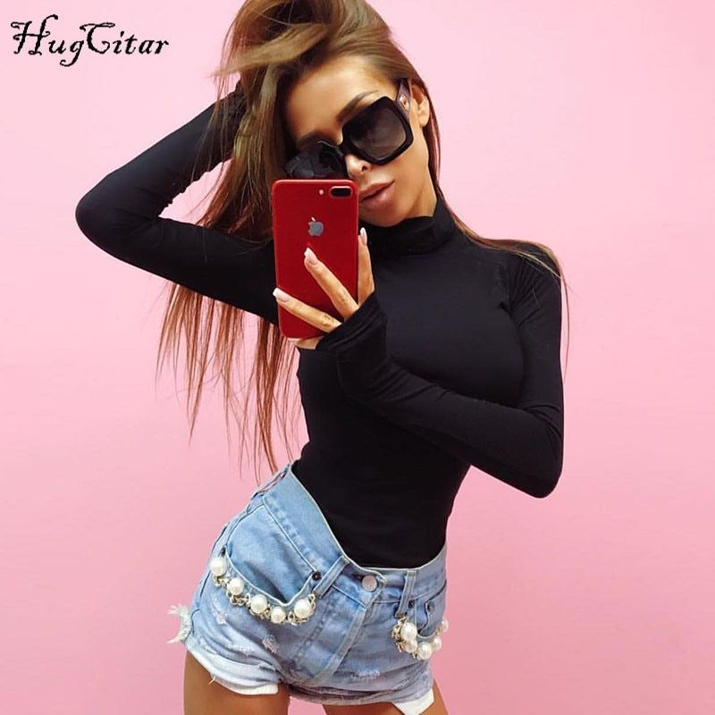 Hugcitar cotton long sleeve high neck skinny bodysuit 2018 autumn winter women black gray solid sexy body suit