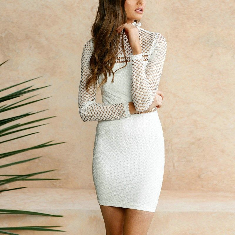 Pencil Bodycon Mini Dress Women 2018 New Sexy Summer Dress Stand Collar Long Sleeve Hollow Out Mesh Female Slim Vestidos White