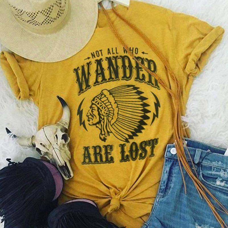 T-Shirt femmes à manches courtes lettre caractère imprimer pas tous qui errent sont perdus 2018 décontracté femme T-Shirt mode dames hauts T-Shirt