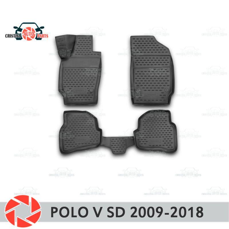 Für Volkswagen Polo V Limousine 2009-2018 fußmatten teppiche non slip polyurethan schmutz schutz innen auto styling zubehör