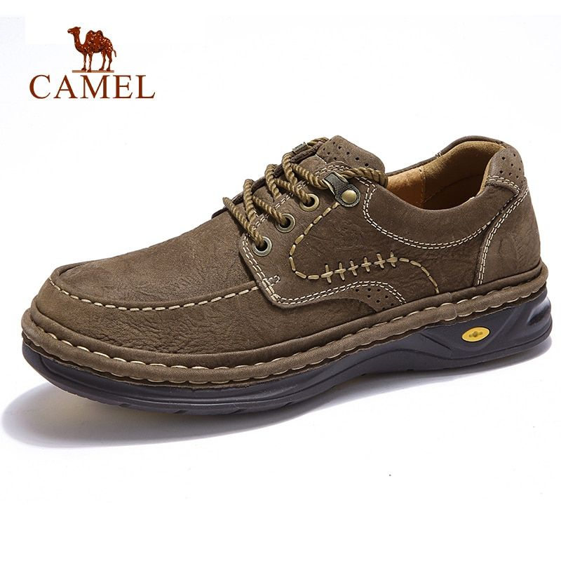 CAMEL New Autumn Genuine Leather Outdoor Casual Shoes Hand Stitching Thick Footwear Sewing Thread Man Flats