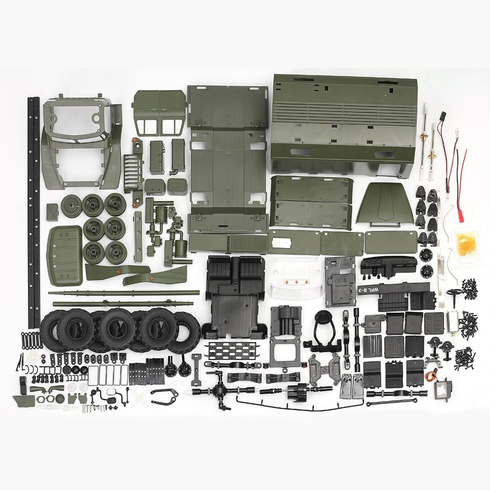 WPL B36 Military Truck KIT 1:16 Ural RC Truck DIY Set 2.4G 6WD Rock Crawler Command Communication Vehicle KIT Toy for Boys