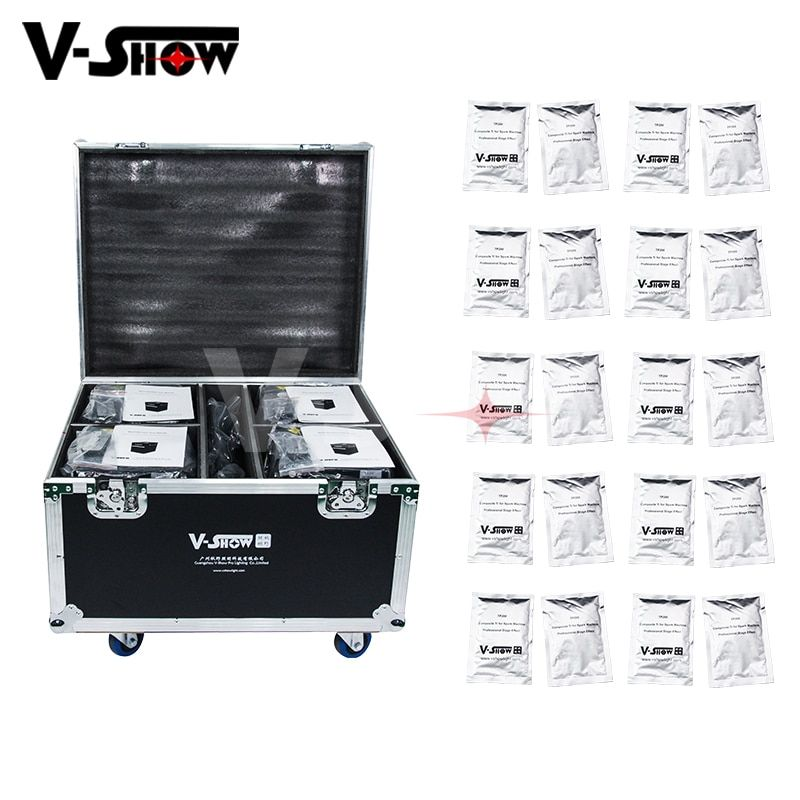 4pcs And Case And 20 Bags Powder 400W Cold Spark Firework Machine For Stage Effect Dmx And Remote Smokeless Fountain For Wedding
