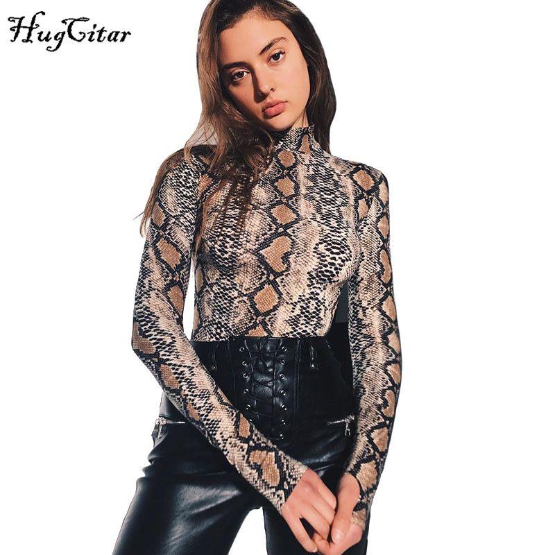 Hugcitar serpent peau grain impression à manches longues col haut combinaisons 2018 automne femmes rue mode serpent sexy body