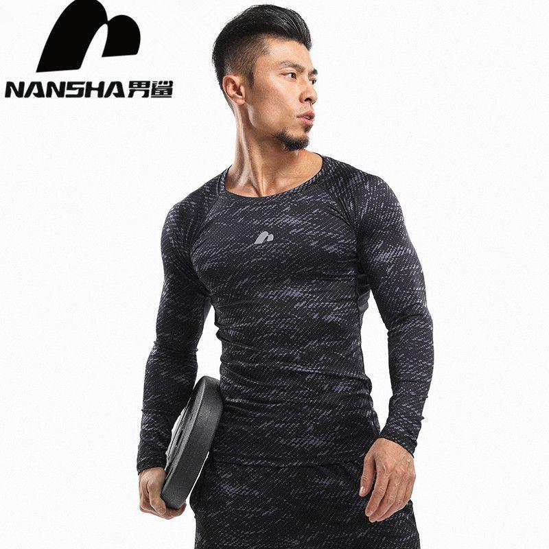 NANSHA Mens Compression Shirt À manches Longues Respirant À Séchage Rapide T-shirt Bodybuilding haltérophilie Couche de Base Fitness Serré Tops