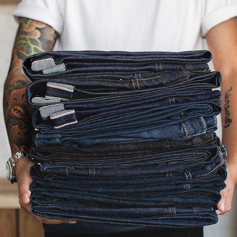 MADEN homme grand & grand coupe régulière jambe droite brut Selvedge Denim Jeans bleu foncé