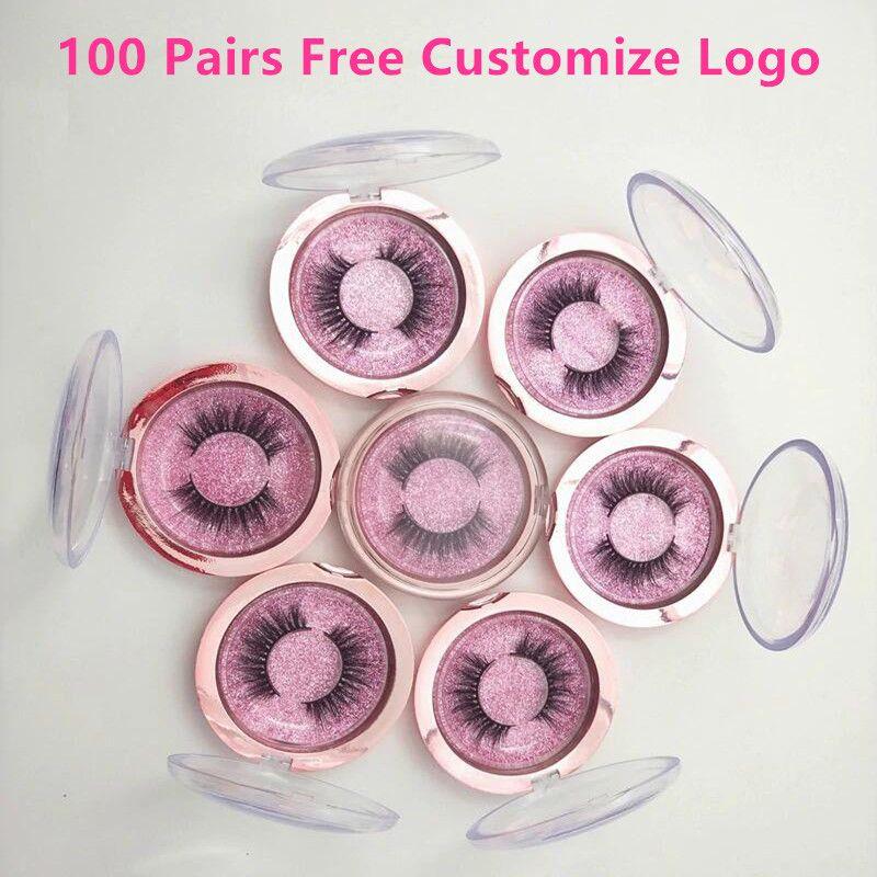 Freies Customzie Logo 100 Pairs Großhandel Wimpern Nerz Falsche Wimpern Handgemachte Nerz 3D Dramatische Wimpern 18 Arten Freies DHL Verschiffen