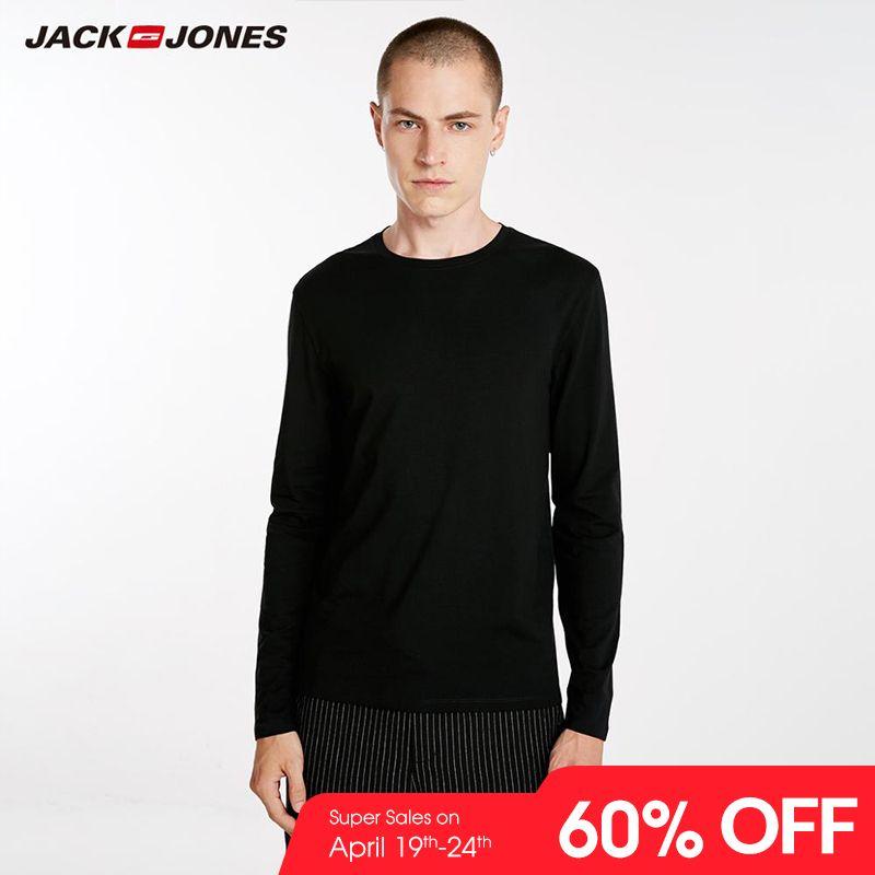 JackJones Men's Elastic Cotton&Spandex O-neck Long-sleeved T-shirt Tops Pajamas Homewear T shirt Fashion Menswear Male 218202501