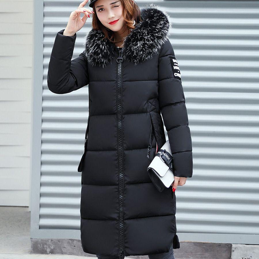 Pelzkragen Mit Kapuze Baumwolle Gepolsterte Lange Mantel Frauen Parka Verdicken Warme Jacke Weibliche