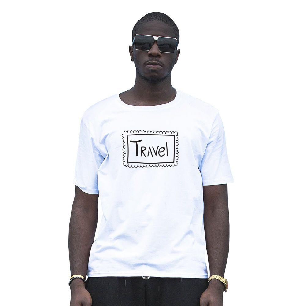 Simple Travel Letter Print Short Sleeve Men Top T-shirt Cotton Tee Gift