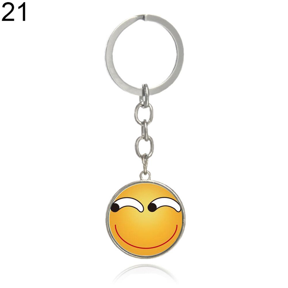 Women Men Charm Jewelry Emoji Emoticon Cabochon Glass Funny Keychain Key Ring