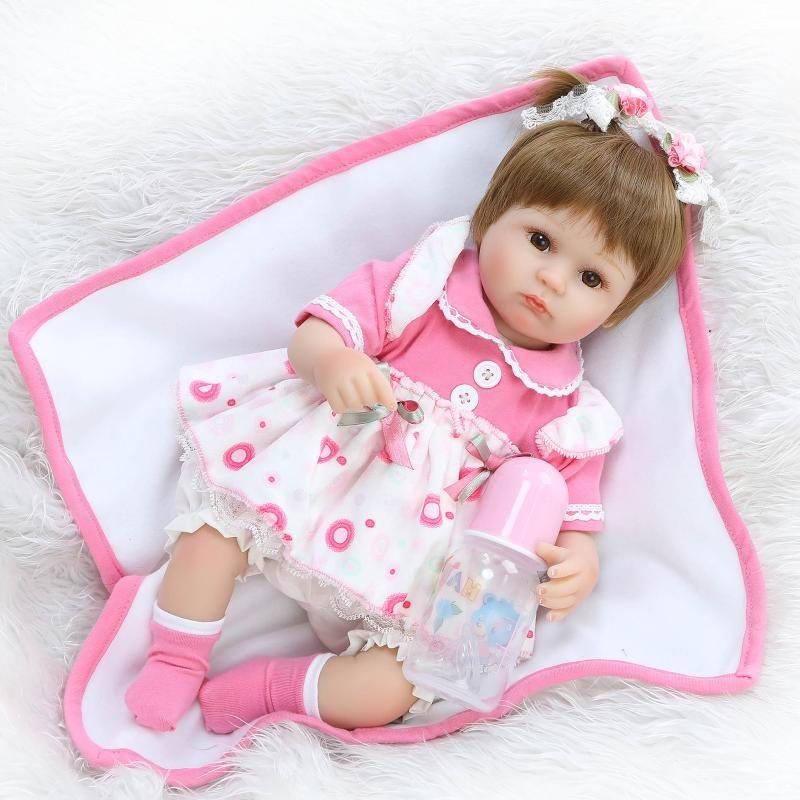 NPK Reborn Baby Doll Realistic Soft silicone Reborn Babies Girl 18 Inch Adorable Bebe Kids Brinquedos boneca Toy