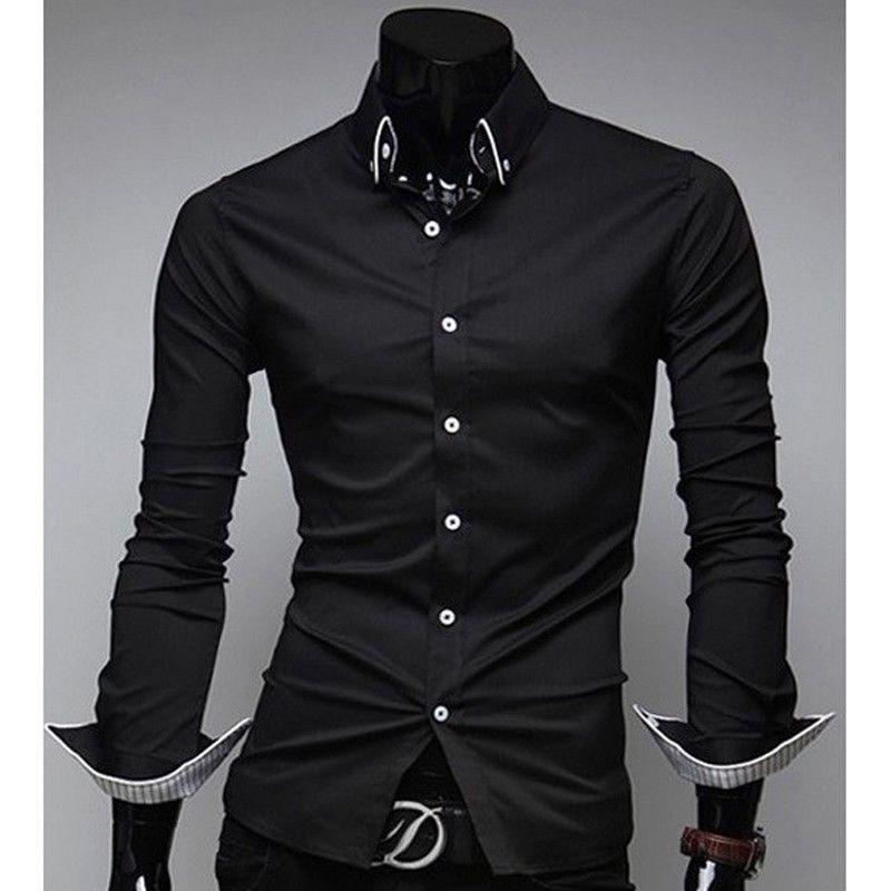 Neue Mode Luxus Stilvolle Männer drehen-unten Kragen Kleid Shirt Slim Fit Langarm Herren Smart Casual Shirts