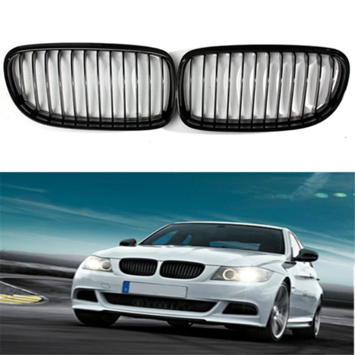 2Pcs Car Front Gloss Black Baking Varnish Hood Kidney Grille Grill For BMW E90 2009 2010 2011 2012 ABS