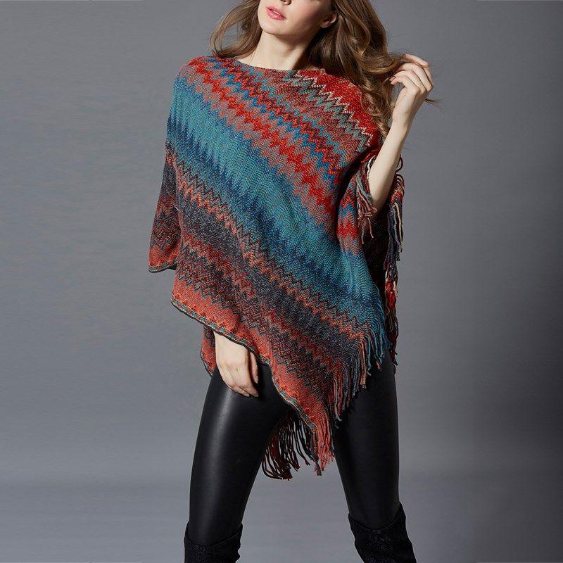 2017 Autumn Winter Women Knitted Shawl Sweater Batwing Sleeve Irregular Stripe Oversized Cape Femme Tassel Poncho Outerwear Top