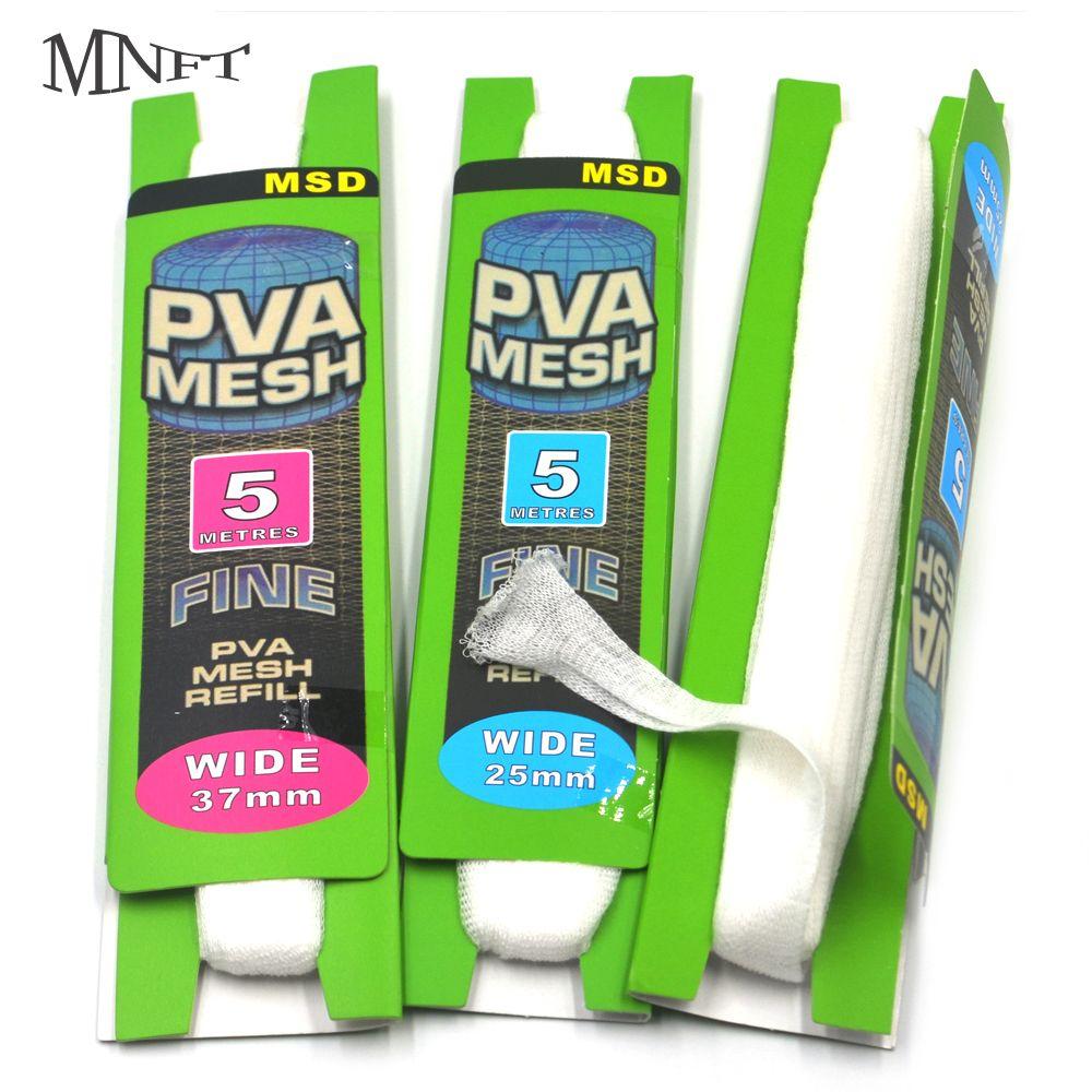 MNFT 4 Stücke Karpfenangeln PVA Mesh Reill 25mm X 5 mt 37mm X 5 mt Wirtschaft Karte paket Refill Strumpf für Haken Köder Feeder Boillie Rigging