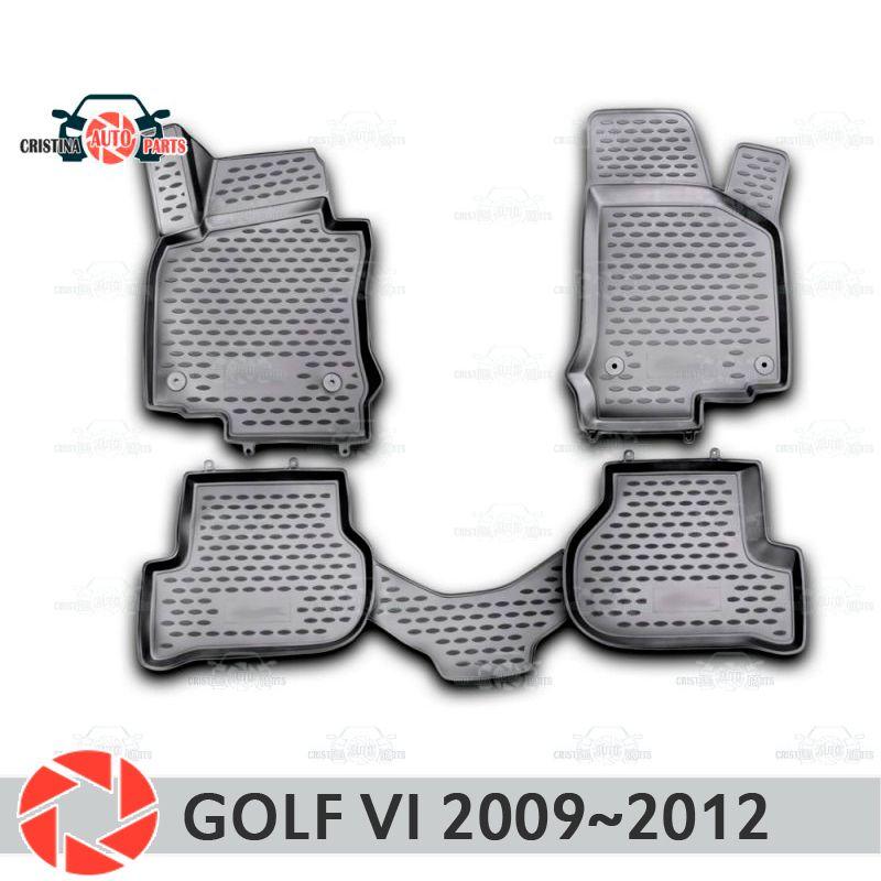 Boden matten für Volkswagen Golf 6 2009 ~ 2012 teppiche non slip polyurethan schmutz schutz innen auto styling zubehör