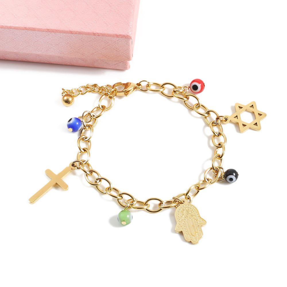 TL Cross Hamsa Charms Bracelet Handmade Bracelets & Bangles for Women Gold/Silver Stainless Steel Jewelry