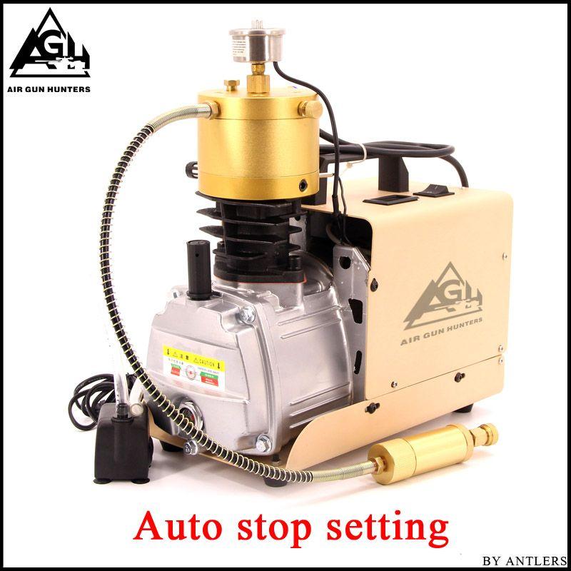 4500PSI alta presión de parada automática eléctrica PCP compresor de pistón bomba de aire para neumáticos airgun Scuba rifle PCP