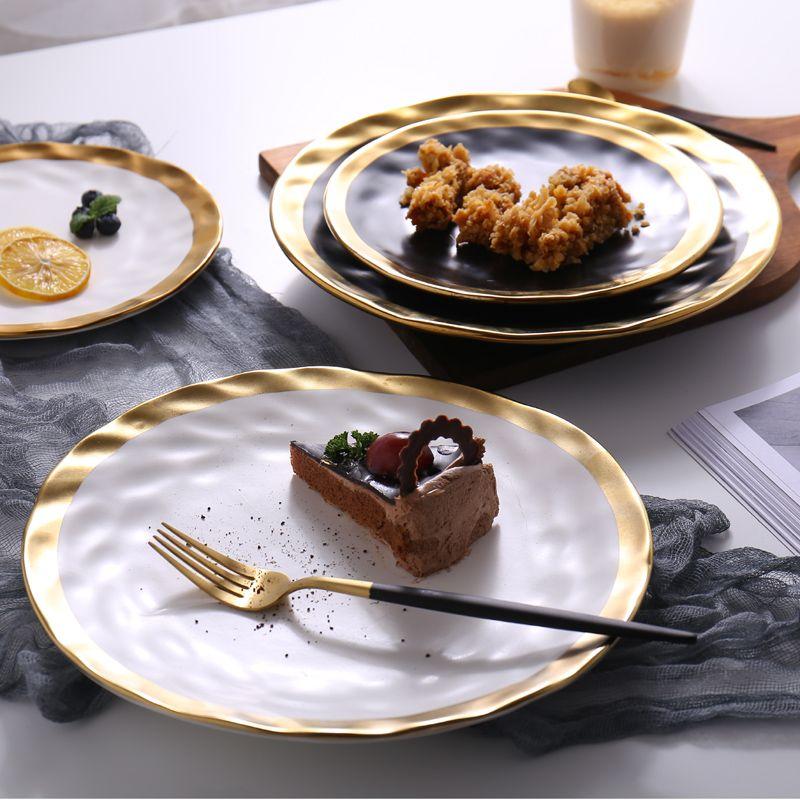 Lekoch 2pcs 8inch/10inch Tableware creative characteristics Phnom Penh ceramic dinner plate gourmet dish ceramic flat plate set