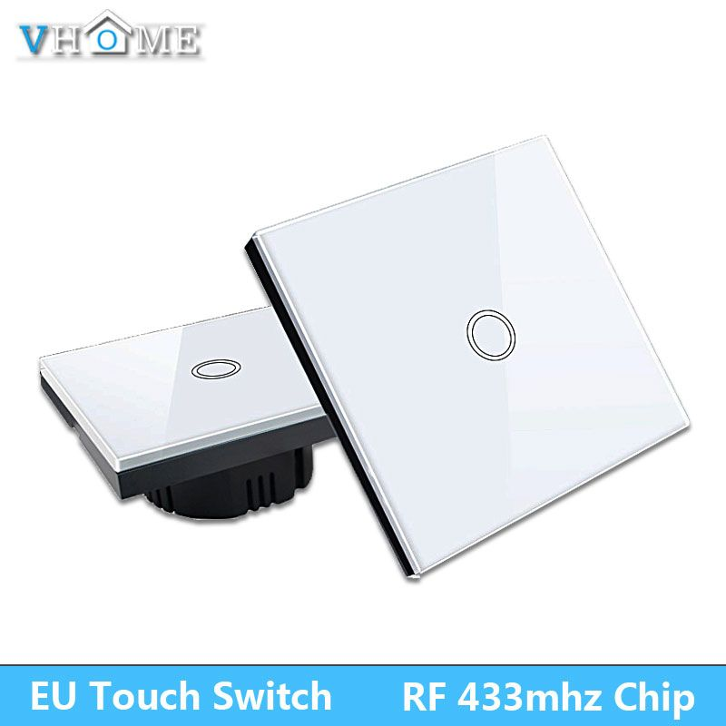 EU Standrad Vhome Remote Controller 2 gang 1 way Crystal Glass Touch Lamp Wall Light switch EV1527 220V smart Home Automation