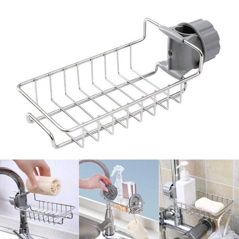 Nouveau robinet en acier inoxydable supports de rangement évier réglable chiffon éponge égouttoir cuisine salle de bains savon supports de rangement étagères